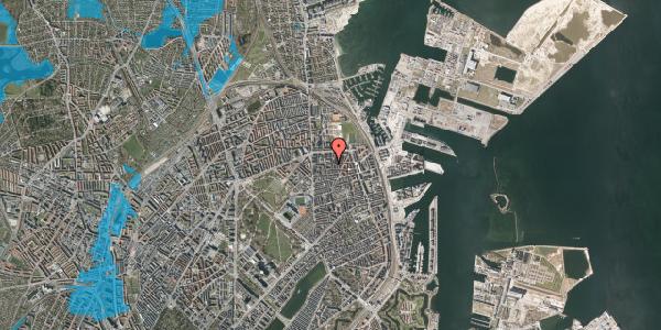 Oversvømmelsesrisiko fra vandløb på Vordingborggade 24, st. th, 2100 København Ø