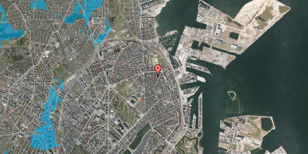 Oversvømmelsesrisiko fra vandløb på Vordingborggade 25, 2. th, 2100 København Ø