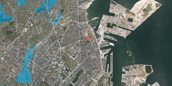 Oversvømmelsesrisiko fra vandløb på Vordingborggade 27, 1. th, 2100 København Ø