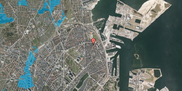 Oversvømmelsesrisiko fra vandløb på Vordingborggade 27, 2. tv, 2100 København Ø