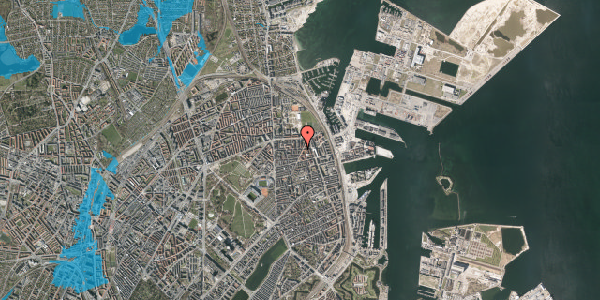 Oversvømmelsesrisiko fra vandløb på Vordingborggade 36, kl. , 2100 København Ø