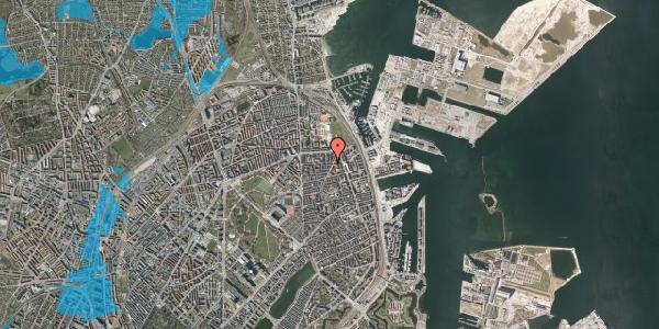 Oversvømmelsesrisiko fra vandløb på Vordingborggade 36, 1. tv, 2100 København Ø