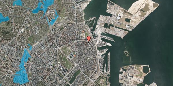 Oversvømmelsesrisiko fra vandløb på Vordingborggade 37, 2. tv, 2100 København Ø
