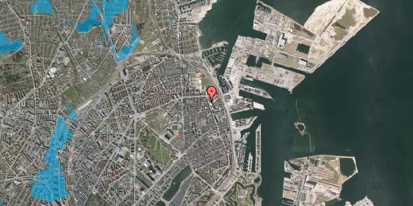 Oversvømmelsesrisiko fra vandløb på Vordingborggade 39, st. tv, 2100 København Ø