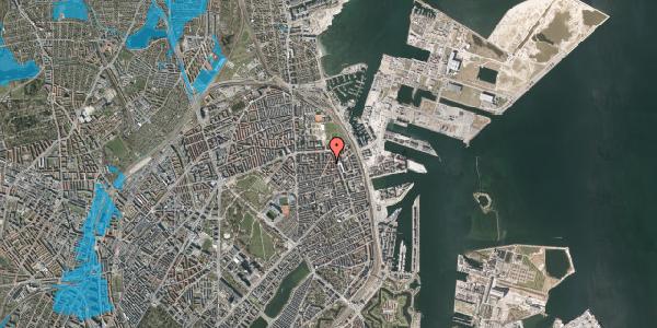 Oversvømmelsesrisiko fra vandløb på Vordingborggade 74, kl. , 2100 København Ø