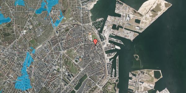 Oversvømmelsesrisiko fra vandløb på Vordingborggade 76, 1. tv, 2100 København Ø