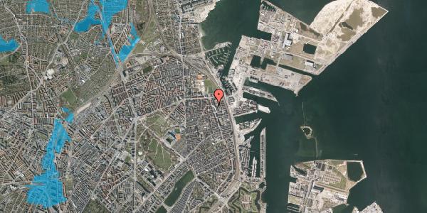 Oversvømmelsesrisiko fra vandløb på Vordingborggade 80, 1. th, 2100 København Ø