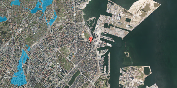 Oversvømmelsesrisiko fra vandløb på Vordingborggade 82, 3. tv, 2100 København Ø