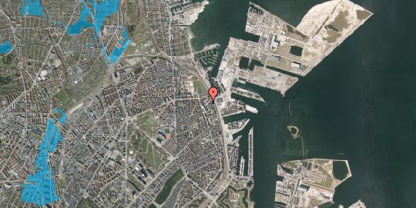 Oversvømmelsesrisiko fra vandløb på Vordingborggade 90, 1. th, 2100 København Ø