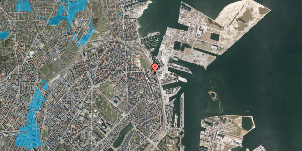 Oversvømmelsesrisiko fra vandløb på Vordingborggade 90, 4. tv, 2100 København Ø