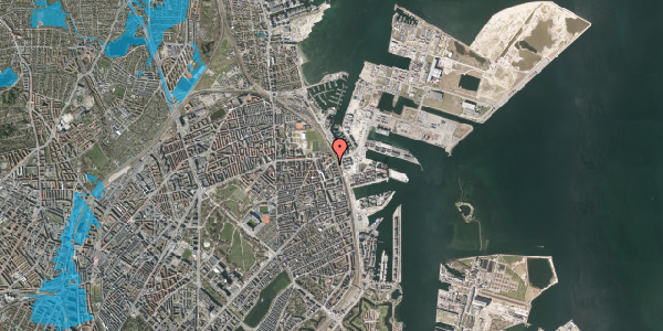 Oversvømmelsesrisiko fra vandløb på Vordingborggade 98, 2. tv, 2100 København Ø