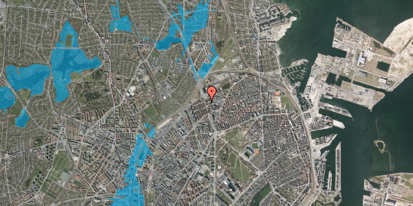 Oversvømmelsesrisiko fra vandløb på Æbeløgade 23, 1. th, 2100 København Ø