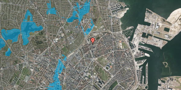Oversvømmelsesrisiko fra vandløb på Æbeløgade 24, 1. tv, 2100 København Ø