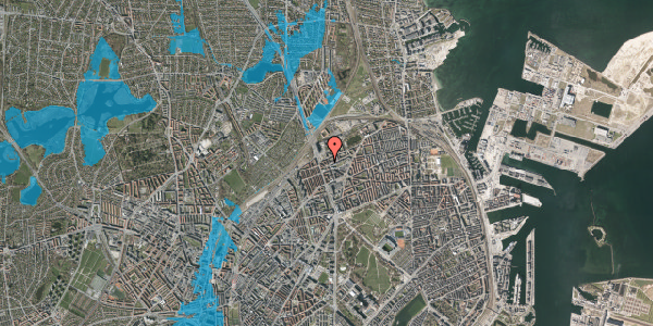 Oversvømmelsesrisiko fra vandløb på Æbeløgade 28, 2. th, 2100 København Ø