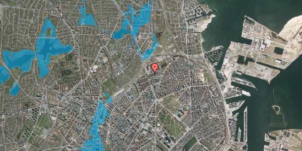 Oversvømmelsesrisiko fra vandløb på Æbeløgade 30, 2. th, 2100 København Ø