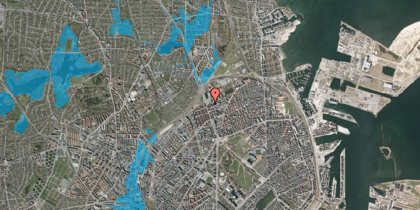 Oversvømmelsesrisiko fra vandløb på Æbeløgade 36, 2. th, 2100 København Ø