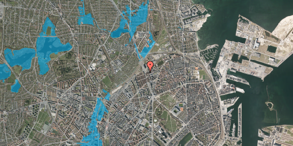 Oversvømmelsesrisiko fra vandløb på Æbeløgade 40, 1. tv, 2100 København Ø