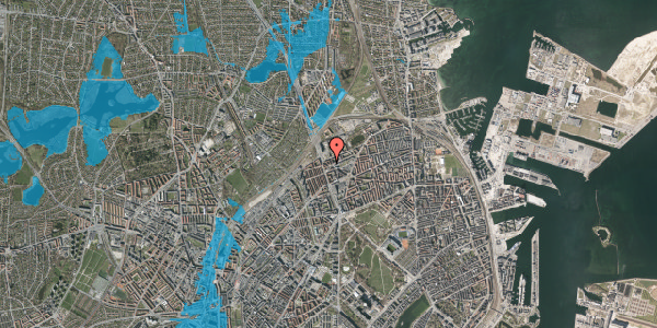Oversvømmelsesrisiko fra vandløb på Æbeløgade 44, 2. 1, 2100 København Ø