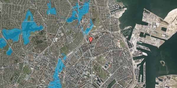 Oversvømmelsesrisiko fra vandløb på Æbeløgade 46, 2. 1, 2100 København Ø