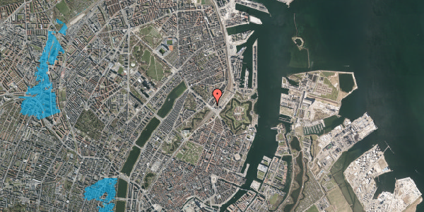 Oversvømmelsesrisiko fra vandløb på Østbanegade 1, 4. , 2100 København Ø