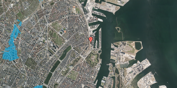 Oversvømmelsesrisiko fra vandløb på Østbanegade 33, 2. 1, 2100 København Ø