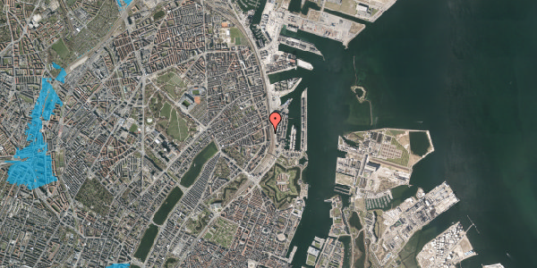 Oversvømmelsesrisiko fra vandløb på Østbanegade 39, 1. 1, 2100 København Ø