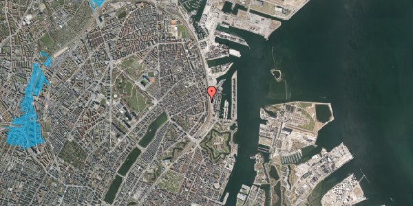 Oversvømmelsesrisiko fra vandløb på Østbanegade 45, 2. th, 2100 København Ø