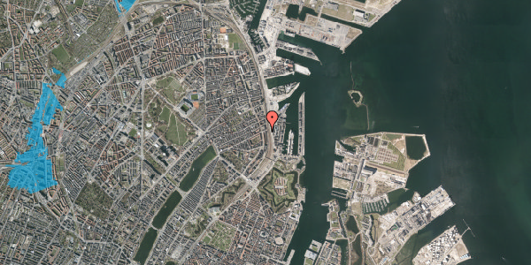 Oversvømmelsesrisiko fra vandløb på Østbanegade 47, 1. tv, 2100 København Ø