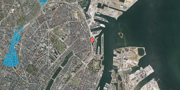 Oversvømmelsesrisiko fra vandløb på Østbanegade 55, 1. tv, 2100 København Ø