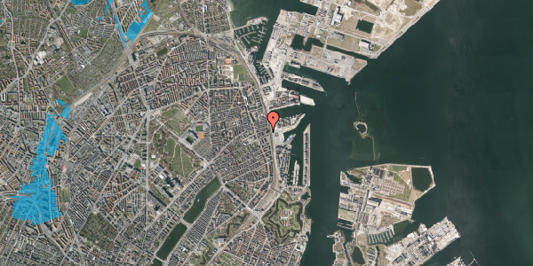 Oversvømmelsesrisiko fra vandløb på Østbanegade 103, 7. 77, 2100 København Ø
