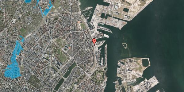 Oversvømmelsesrisiko fra vandløb på Østbanegade 105, st. tv, 2100 København Ø