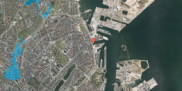 Oversvømmelsesrisiko fra vandløb på Østbanegade 115, 2. , 2100 København Ø