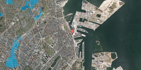Oversvømmelsesrisiko fra vandløb på Østbanegade 145, 3. th, 2100 København Ø