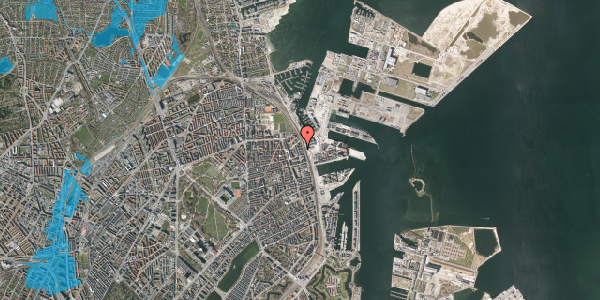Oversvømmelsesrisiko fra vandløb på Østbanegade 153, 5. tv, 2100 København Ø