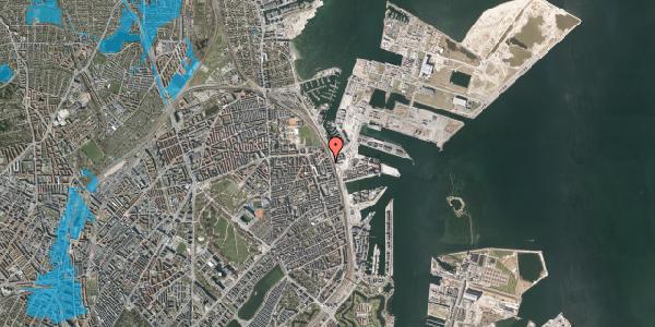 Oversvømmelsesrisiko fra vandløb på Østbanegade 157, 2. th, 2100 København Ø