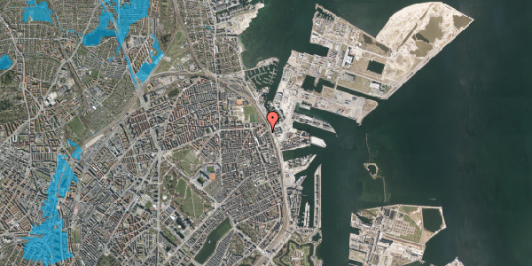 Oversvømmelsesrisiko fra vandløb på Østbanegade 167, 5. th, 2100 København Ø
