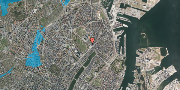 Oversvømmelsesrisiko fra vandløb på Øster Allé 16, 2100 København Ø