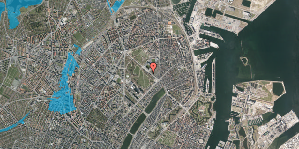 Oversvømmelsesrisiko fra vandløb på Øster Allé 25, st. 7, 2100 København Ø