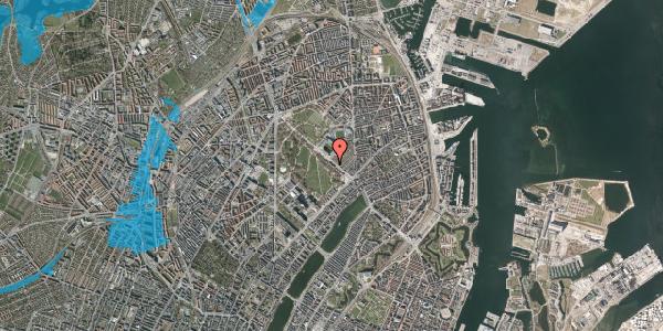 Oversvømmelsesrisiko fra vandløb på Øster Allé 25, 1. 34, 2100 København Ø