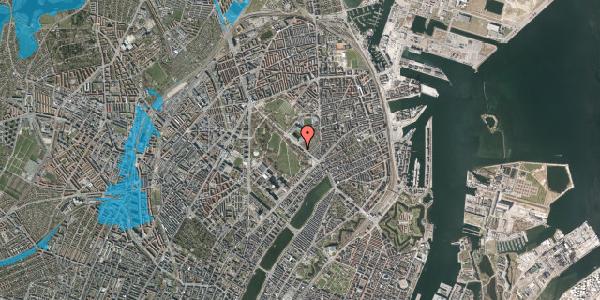 Oversvømmelsesrisiko fra vandløb på Øster Allé 25, 4. 148, 2100 København Ø