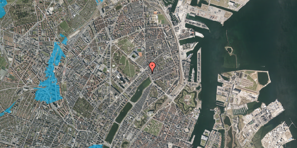 Oversvømmelsesrisiko fra vandløb på Østerbrogade 21, st. 3, 2100 København Ø