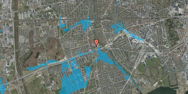 Oversvømmelsesrisiko fra vandløb på Baunebakkevej 21, 2650 Hvidovre