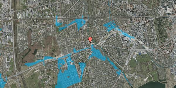 Oversvømmelsesrisiko fra vandløb på Baunebakkevej 35, 2650 Hvidovre