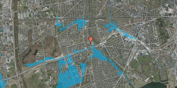 Oversvømmelsesrisiko fra vandløb på Baunebakkevej 55, 2650 Hvidovre
