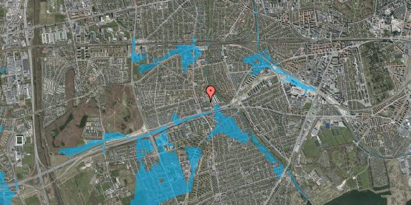 Oversvømmelsesrisiko fra vandløb på Baunebakkevej 65, 2650 Hvidovre