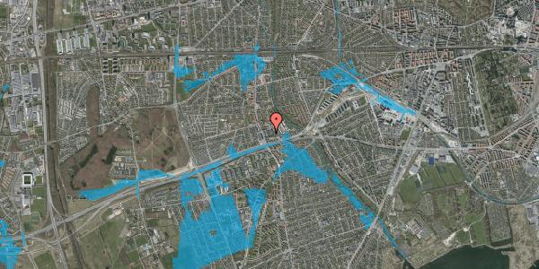 Oversvømmelsesrisiko fra vandløb på Baunebakkevej 89, 2650 Hvidovre