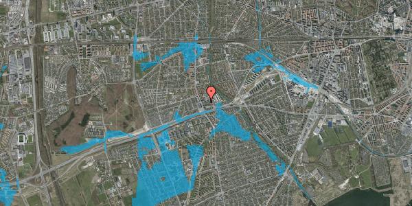 Oversvømmelsesrisiko fra vandløb på Baunebakkevej 107, 2650 Hvidovre