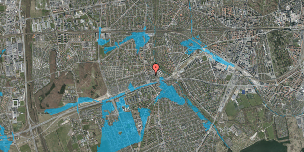 Oversvømmelsesrisiko fra vandløb på Baunebakkevej 115, 2650 Hvidovre