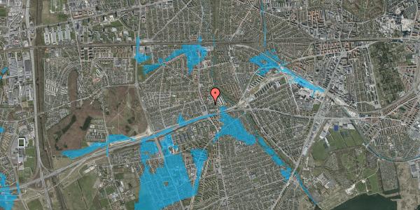 Oversvømmelsesrisiko fra vandløb på Baunebakkevej 121, 2650 Hvidovre