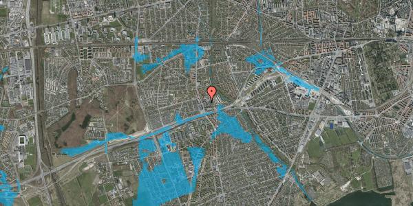 Oversvømmelsesrisiko fra vandløb på Baunebakkevej 127, 2650 Hvidovre